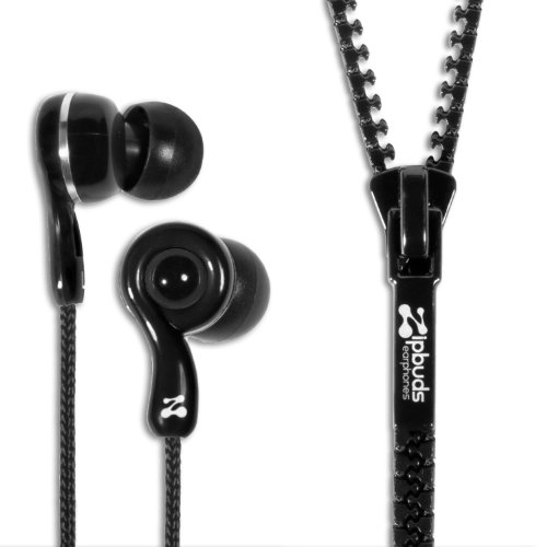 Zipbuds Juiced 2.0 Never Tangle Zipper Earbuds Featuring Comfortfit2 Technology, Black
