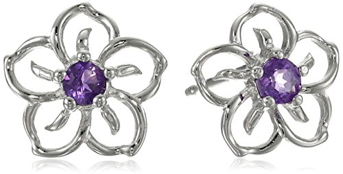 Sterling Silver and Amethyst Flower Earrings