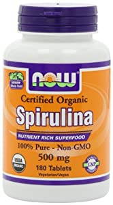 NOW Foods Organic Spirulina 500mg  Tablets, 180 Tablets