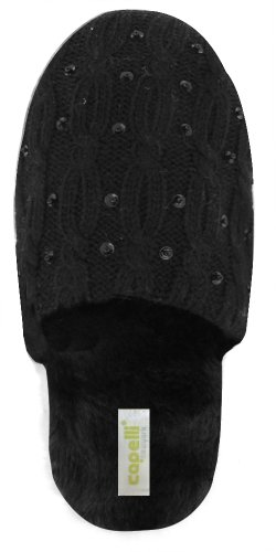 Cheap Capelli New York Soft Cableknit Rows With Fleece Lining Ladies Indoor Slipper (B005WUSUM8)