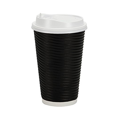 PREMIUM Disposable Hot Paper Cups With Lids| Double Wall & Ripple Insulation For Heat Protection| Perfect For Your Coffee/Tea/Espresso| Birthday/Party/Restaurant Supplies 30 Count (16 oz., Black) (Disposable Hot Beverage Dispenser compare prices)