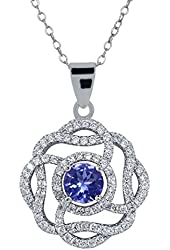 "2.52 Ct Round Blue Tanzanite 925 Sterling Silver Pendant with 18"" Chain"