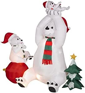 6ft airblown inflatable animated christmas for Animated polar bear christmas decoration