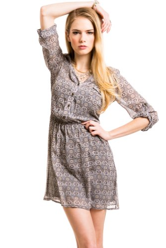 Hexagon Print Button Down Dress In Navy/Taupe