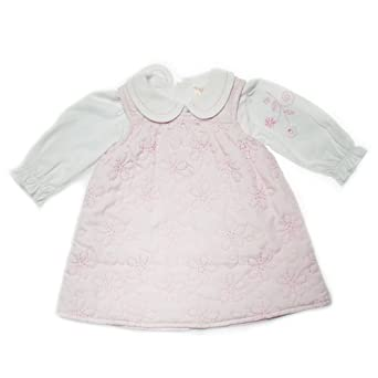 Zip Zap 2 Piece Cotton All Over Embroidery Pinafore and Peter Pan Collar T-Shirt (White Marshmallow, 12 to 18 Months)