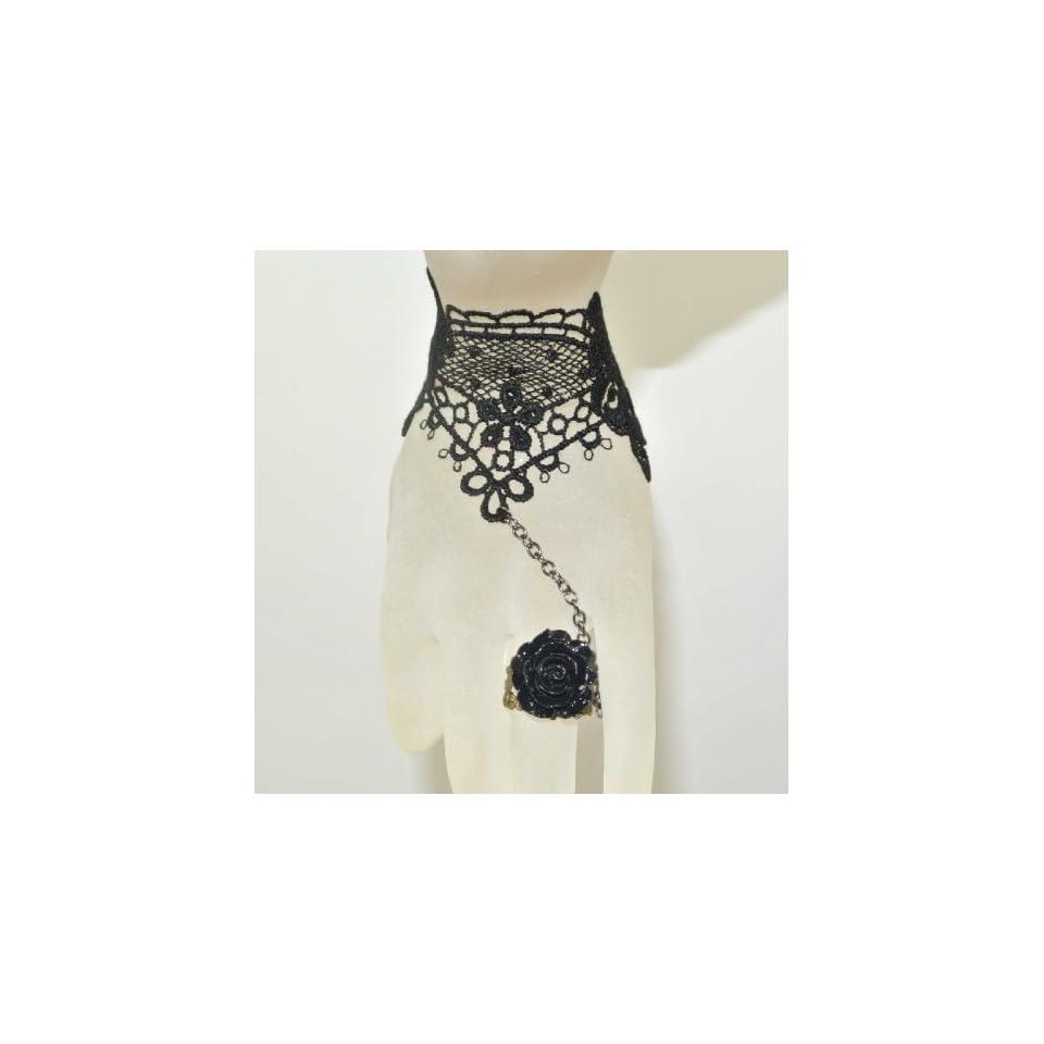 Goth Gothic Lolita Retro Vintage Vampire Tassels Black Roses Ring Lace Bracelet