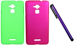 FCS Rubberised Hard Back Case For Coolpad Note 3 in Matte Finish Combo Of Two With Capacitive Touch Screen Stylus.