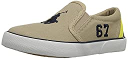 Polo Ralph Lauren Kids Victory Fashion Sneaker (Toddler), Khaki/Yellow, 5 M US Toddler