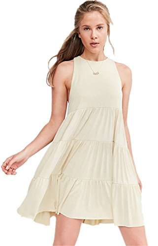 Moda Senza Maniche Ruched Balze Ruches Volant Mini Babydoll Canotte Dress Vestito Abito Crema S