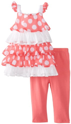 Kids Headquarters Baby-Girls Infant Gray Polka Dots Tunic With Legging, Pink, 12 Months front-712430