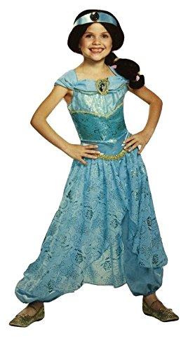 [Disguise Jasmine Aladdin Disney Princess Deluxe Child Costume (S (4-6X))] (Princess Jasmine Child Costume)