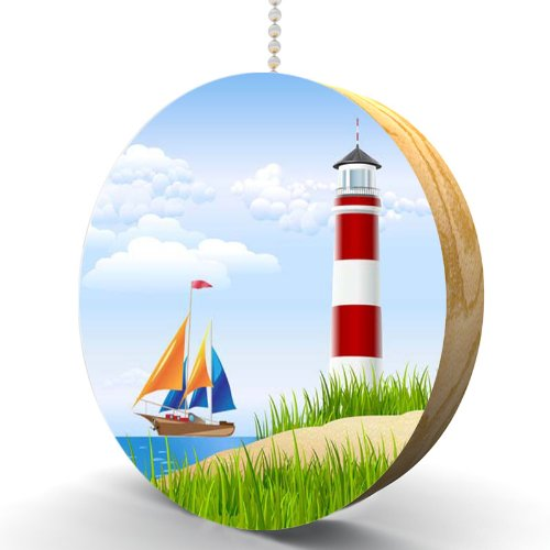 Lighthouse and Sailboat Hardwood Oak Fan / Light Pull (Lighthouse Fan Pulls compare prices)