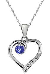 Blue Tanzanite and White Diamond Sterling Silver Heart Shape Pendant with Chain