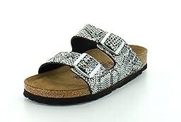 Birkenstock Women\'s Arizona Soft Footbed Sandal Python Silver Leather Size 39 N EU