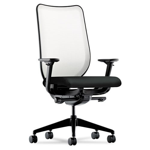 HON Nucleus Knit Mesh Back Task Chair with Synchro-Tilt, Seat Glide, Adjustable Arms and Black Mesh Back, Black
