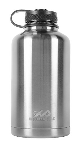 64 oz Stainless Steel Insulated Water Bottle and Beer Growler by Highland Peak - Wide Mouth Canteen - Hot and Cold - BPA Free Metal Thermos Flask (Metal Sealed Container compare prices)