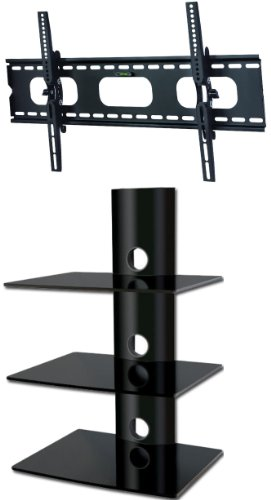 PACKAGE DEAL! Three GLASS SHELVES Wall Mount for Audio Video Components-all BLACK + Universal TILT Bracket for ALL TV Brands 37 40 42 46 47 50 52 54 55 58 60 inch Flat Panel-HD Ready Screen