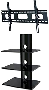 The Best  PACKAGE DEAL! Three GLASS SHELVES Wall Mount for Audio Video Components-all BLACK