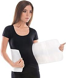 Elastic Abdominal Binder / Postpartum & Post Operative Belly Wrap - White, Large, Waist 36\