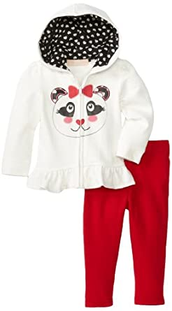Kids Headquarters Baby-girls Infant Hoody with Pull On Pants, Ivory, 12 Months