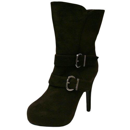 Luxury Divas Big Buckle Brown Suede High Heel Platform Short Boots Shoe Size 10