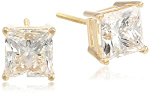 IGI Certified 18k Yellow Gold, Princess-Cut, Diamond 4-Prong Stud Earrings (4 cttw, H-I Color, SI1-SI2 Clarity)