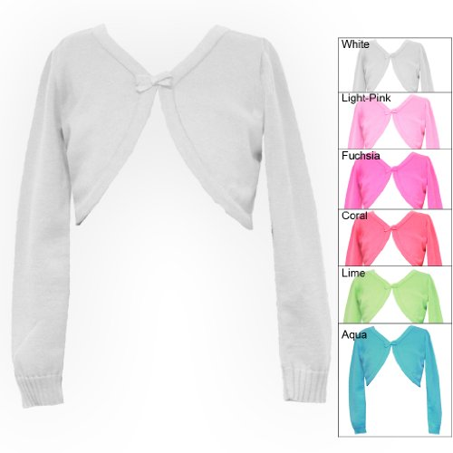 Size-16-XL RRE-49642E WHITE LONG SLEEVE BOW TRIM SWEATER-KNIT Shrug/Cardigan/Sweater/Jacket,E449642 Rare Editions TWEEN GIRLS