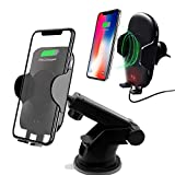 Wireless Car Charger Mount, IZONYC Automatic 10w/7.5W Qi Fast Charging Car Phone Holder Air Vent and Dashboard Compatible with Samsung Galaxy S10/10+/ S9/ S9+/ S8/ S8+, iPhone X/ Xs Max/XR/X / 8/8 Plu (Color: Black)
