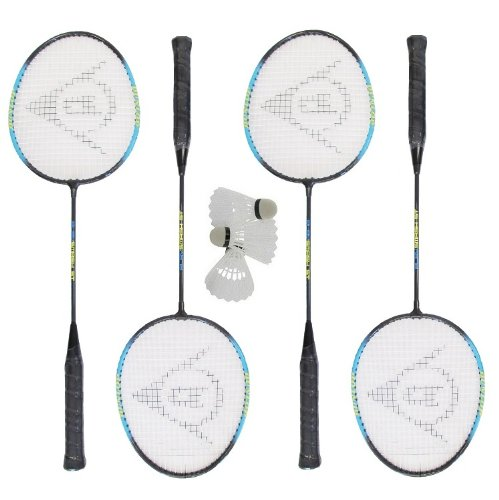 4 x Dunlop Smash Blue Badminton Rackets with 3 Shuttles RRP £60
