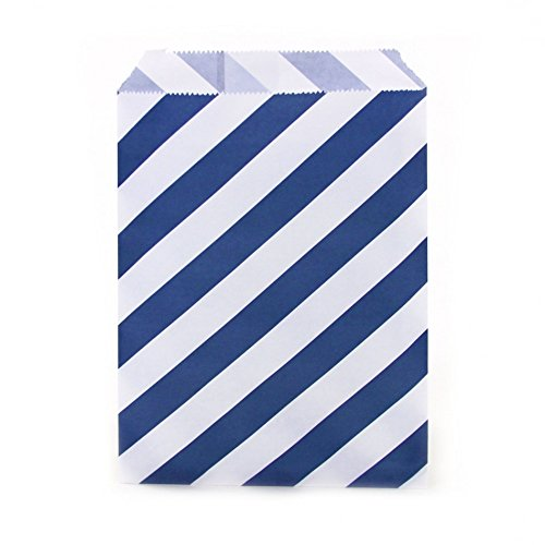 Dress My Cupcake 24-Pack Party Favor Bags, Striped, Navy Blue (Popcorn Bag Cupcake compare prices)