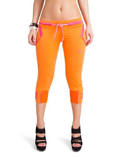24brands - Damen Capri Sporthose / Jogginghose / kurze Freizeithose - 2662, Größe:44;Farbe:Orange (Neon)