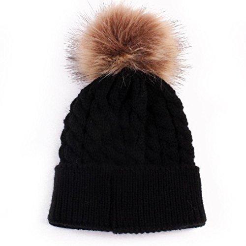 Kingko® Appena nato sveglio invernali per bambini bambino cappelli di lana lavorato a maglia il cappello Hemming Infant Mantenere cappelli caldi (Nero)