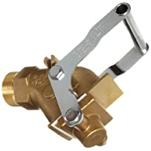 "Justrite 08552 Brass Self-Closing Drum Gate Valve, 2"" NPT Male"