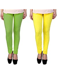 Snoogg Womens Ethnic Chic Inspired Churidar Leggings In Yellow And Light Green