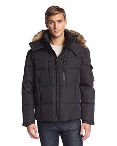 S13 Men's Tundra 28 Inch Matte Quilted Down Jacket With Removable Faux Raccoon Trimmed Hood