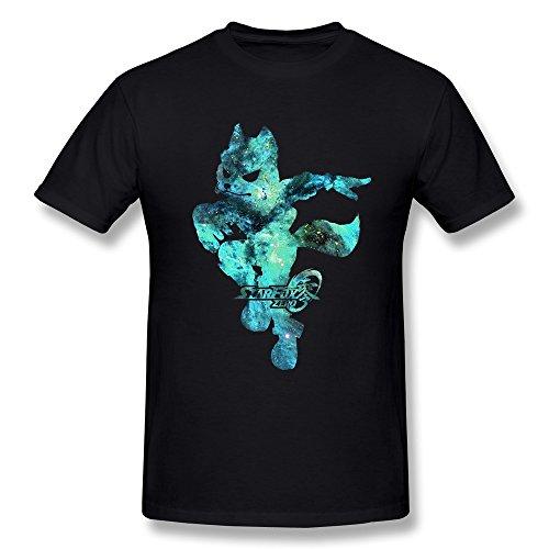 YvonneArt Men's Star Fox Zero Pilot Fox Galaxy Background Tshirts Black XX-Large