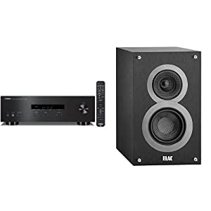 Yamaha R-S201BL 2-Channel Stereo Receiver with a pair of ELAC Debut B4 Bookshelf Speakers (Black)