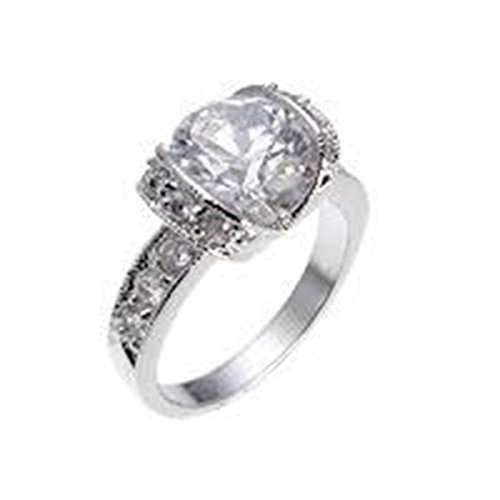 Tension Set Cubic Zirconia Silver Colored Engagement Ring, Size 9