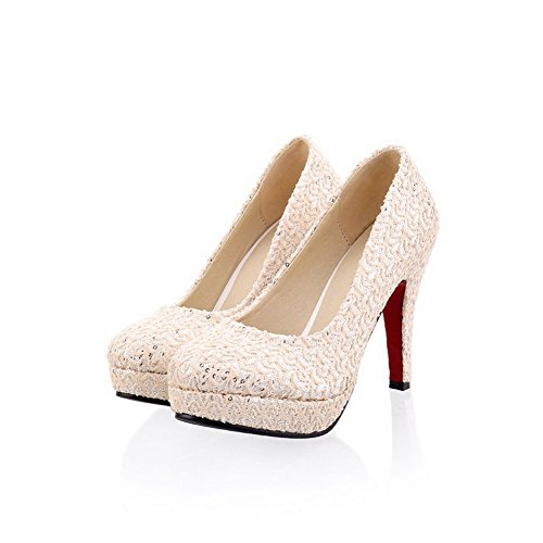 Vogue001 Womens Closed Round Toe High Heel Platform PU Soft Material Solid Pumps