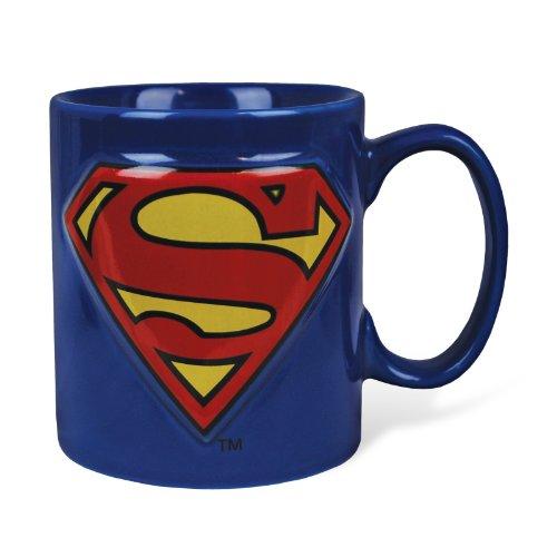 Superman - Tazza della DC Comics con logo - Ceramica 400 ml - Consegna in confezione regalo - Blu