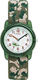Timex Kids Children's Quartz Watch with White Dial Analogue Display and Green Textile Strap - T78141