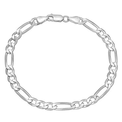5,5 mm, da uomo, in argento Sterling 925 solido, Braccialetto Figaro, argento, colore: argento, cod. NEC501B_8