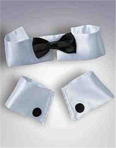 White Black Adult Chippendale Chip And Dale Dancer Collar Tie Cuff Set