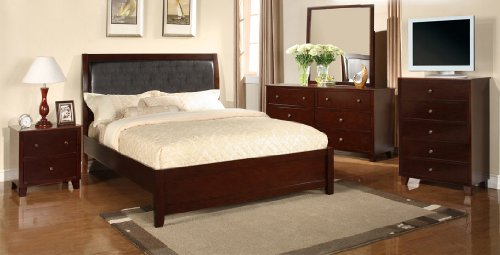 cheap 8pc leather look espresso finish queen size bed complete bedroom