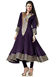 Clickedia Women's Georgette Collar Neck Kurta (Rakhi Purple Kurti_Free Size_Purple)