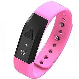 EFOSHM PINK Upgrated K5 Plus Wireless Activity and Sleep Monitor Pedometer Smart Fitness Tracker Wristband Watch Bracelet for Men Women Boys Girls Ladies Man Iphone Sumsung HTC (Pink)