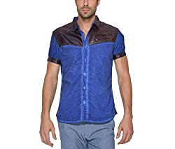 Copperstone Men's Casual Shirt (8903944552722_Dark Blue_Large)