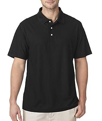 UltraClub Men's Cool & Dry Pebble-Knit Polo - Black - S