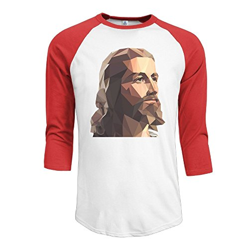 NJ Apparel Men's God Lord Jesus 3/4 Sleeve Sports Tshirt Red Size L