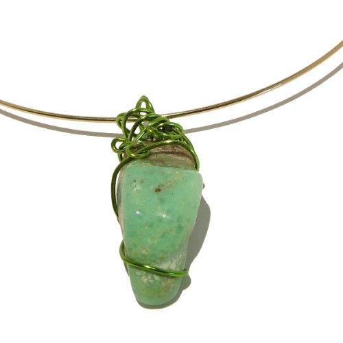 Chrysoprase Necklace 04 Choker Green Stone Crystal Healing Gem Wire Wrap Gold Rock 17